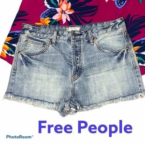 Free People Button Fly Raw Hem Shorts Size 30
